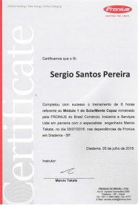 Certificado de Treinamento Fronius